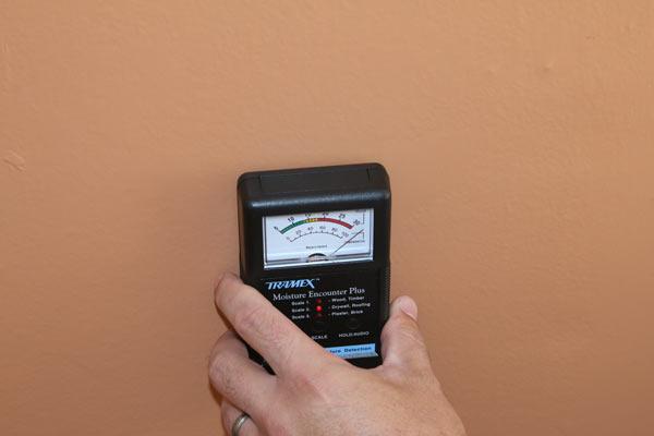 Home inspector using moisture meter