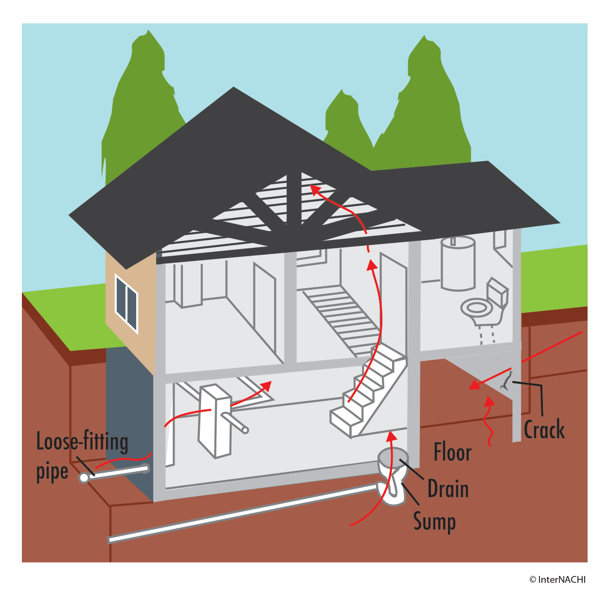Tallahassee Home Inspector - Radon Entry from soil to home