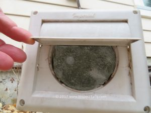 During Crawfordville home inspection a screen is discovered on dryer vent