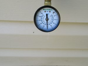 Tallahassee Home Inspector notes elevated water pressure during a home inspection.