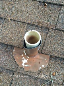 Squirrel Damage on the plumbing boots of this home discovered by a Tallahassee Home Inspector