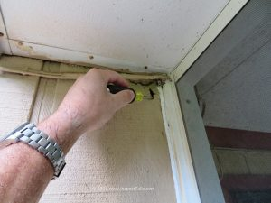 Another Tallahassee Home Inspection uncovers wood rot in a home's siding while probing.
