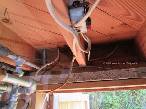 Another improperly installed junction box discovered by a Tallahassee Home Inspector doing a home inspection on an investment property.